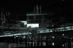 Pavilion (BB ON) Tags: toronto ontario canada night city urban building water steel glass ontarioplace postmodern architecture monochrome dark bridge cantilever