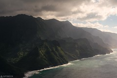 Napali Coast - Kauai (Captures.ch) Tags: air black blue brown canyon cliffs clouds evening gray green hawaii helicopter kauai landscape light napalicoast nature orange pacific perfect red sea sky trees water waves white jack harter helicopters