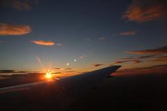 2016_10_03_lhr-ewr_179 (dsearls) Tags: 20161003 lhrewr sunset altittude flying newyork newjersey aerial windowseat windowshot united ual unitedairlines aviation wing airplane boeing boeing767 blue sky orange clouds pink altostratus altocumulus stratus sun