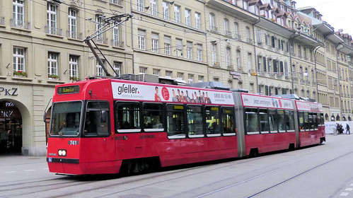 Bernmobil, Switzerland - Be 4/8 Tram No. 741 introduced 1989/90 on Route 7 to Bümpliz in Spitalgasse on the 16th September 2016