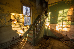 Novembers Shadow (gerrypocha) Tags: derelict forgotten sun bannister color abandoned saskatchewan