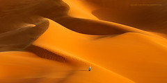 International Pano Awards (Marsel van Oosten) Tags: africa libya acacus desert sahara sand warm hot heat dust wind sunset dunes shadow squiver marselvanoosten tuareg person adventure exploration travel landscape photography pano award orange