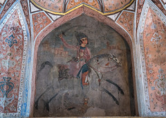 Fresco of a man riding a horse in chehel sotoun forty columns palace, Isfahan province, Isfahan, Iran (Eric Lafforgue) Tags: 0people abbas ancient architecture art artistic arts artwork beauty chehelsotoun colorimage culture decoration design destinations esfahan famous heritage historic horizontal horse indoors iran iranian isfahan ispahan luxury majestic middleeast monument nopeople nobody old paint painting palace persia persian photography residence royal sight sotoun tourism touristic travel isfahanprovince