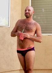 IMG_0212 (danimaniacs) Tags: party shirtless man guy hot sexy hunk bathingsuit trunks speedo bulge smile beard scruff bald hairy