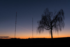 Skyline Wilhelmskirch (ingoal18) Tags: skyline wilhelmskirch kaff tree baum sunset sunrise sonnenuntergang sonnenaufgang shadow shade schatten silhouette masten mast sendemast telefon internet telephone orange blue black nikkor nikon 18140mm lightroom