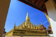Pha That Luang Vientiane (Look Aod27) Tags: laos popular travel apec architecture asean asia asian beautiful buddha buddhism buddhist culture east famous gold golden landmark landmarks lao luang national pagoda pdr pha religion republic sky south stupa symbol temple temples vientiane wat