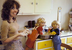 M - young mother 3 (jonathan charles photo) Tags: young mother child twins teach cooking kitchen 1970s 1979 art photo jonathan charles topf100