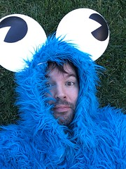 Monster selfie! (RobotSkirts) Tags: laurapalooza party cookie cookiemonster monster blue eyes coat eliot eliotphillips eyeballs eyeball grass selfie