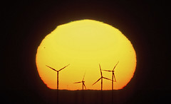 Wind Turbines at Sunset (brianjobson) Tags: sun sunset windturbine sunspot yellow nikond810 nikon200500lens