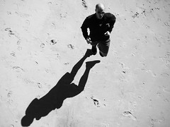 Running Shadow (Feldore) Tags: man running santa monica pier birdseye view above aerial jog jogger beach california feldore mchugh em1 olympus 1240mm canid frozen