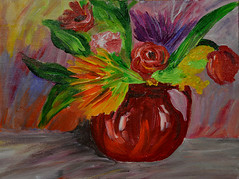 Red Pot of Mixed Flowers (BKHagar *Kim*) Tags: bkhagar painting paint acrylic art artwork floral flowers artday pot flowerpot vase