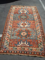 "19TH CENTURY KAZAK AREA LESGHI STAR RUG • <a style=""font-size:0.8em;"" href=""http://www.flickr.com/photos/51721355@N02/30624996092/"" target=""_blank"">View on Flickr</a>"