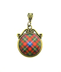 Ancient Romance Series - Scottish Tartans Collection - Forrester Clan Tartan Ornate Scroll w/Celtic Bail Pendant