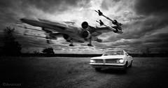 The Choice (a Variation) (Avanaut) Tags: pontiac xwing starwars car miniature scalemodel originality blackandwhite monochrome surreal vintage toy 1964 tempest