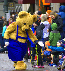 Give Me Five (swong95765) Tags: parade bear costume crowd kids fun
