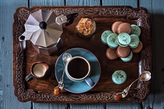 Morning Coffee & Treats (memoryweaver) Tags: spoons amber azure coast denby saucer cup stilllife merengue bake tray homemade memoryweaver caf breakfast macarons macaroons pot maker aluminium stovetop espresso coffee