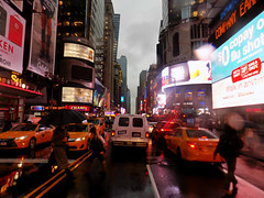 Wet,Foggy End to November (Robert S. Photography) Tags: rain fog street scene cabs yellow people crossingthestreet billboards lights signs city rainydays reflection manhattan nyc timessquare nikon color coolpix l340 iso80 november 2016