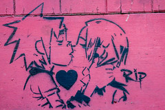 Gorillaz love RIP (PDKImages) Tags: sheffield sheffieldart sheffieldstreetart streetart art beauty girl cat baby newlife foetus doll gothi horror walls cracked eyes building gorillaz love clown