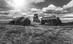 Bents Playground - BW (Pat Kavanagh) Tags: bents saskatchewan prairies prairie ghosttown flatlanders patrickkavanaghca patrickkavanaghphotography homestead farm generalstore grainelevator farmhouse black white