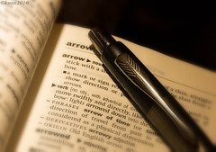 Arrow on a pen (RIS'n'RAS) Tags: book text writing macro closeup arrow macromondays mm pen sepia