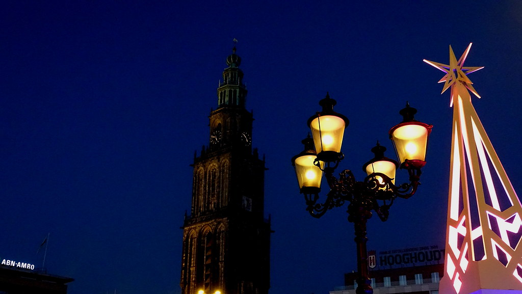 groningen the netherlands pwitterholt tags martinitoren martinikerk bluehour blue groningen grotemarkt lamp