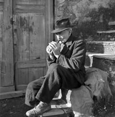 Old times (Italian Film Photography) Tags: old man 120 film rural vintage silver square blackwhite smoking uomo bianconero agricultural analogica argentique fumo pellicola anziano flickrexplore agreste explored