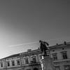 Plane Trail and the Statue (Borut Slabe) Tags: travel sky urban blackandwhite bw musician sculpture monument monochrome statue architecture bronze outdoor culture slovenia figure piran violinist chemtrails tartini