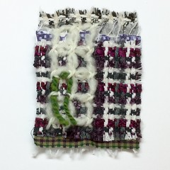 Sampling (ChristineB16) Tags: city urban wool paper landscape purple stitch heather sample cloth weave moorland embroider chickenscratch woolyarn