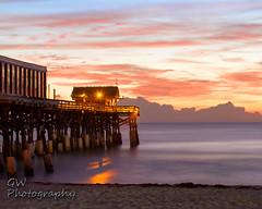 Cocoa Beach Pier At Sunrise (H2OJunkie) Tags: ocean longexposure beach sunrise canon florida scenic adobe existinglight atlanticocean manfrotto cocoabeach cocoabeachpier brevardcounty canon7d gwphotography photoshopelements13 canon60mmf28efsusmmacro
