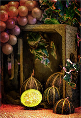 Melons - (Digital Art) (Dave (R.A.T.S.) Real Ale Tasting Society ) Tags: digitalart grapes melons woodenbox canon7dmkii topazimpression canon50mmf18stmlens