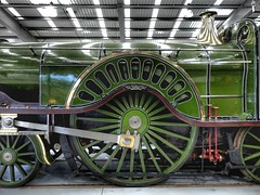 Driving Wheel, Stirling Single Steam Locomotive. (ManOfYorkshire) Tags: green wheel museum train driving display stirling railway steam prototype single locomotive gnr nrm no1 1870 connectingrod greatnorthern shildon 8ft