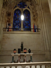 Stained Glass Blue and Flags (toranosuke) Tags: blue churches stainedglass flags stjohnthedivine installationart urns egyptianstyle peternadin