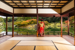 The Ritsurin Garden Teahouse (Takamatsu, Japan) (Alex Stoen) Tags: travel autumn vacation fall colors lines japan garden geotagged vanishingpoint google model flickr perspective takamatsu kimono smugmug facebook puntodefuga natgeo nationalgeographicexpeditions creativecomposition kikugetsutei alexstoenphotography canoneos1dx ef2470mmf28liiusm ngexpeditions ritsuringardenteahouse
