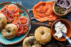 hooked on lox (gabster_ro) Tags: food fish classic closeup breakfast rural bread lunch spread healthy raw traditional rustic salmon sandwich fresh fromabove gourmet delicious indoors homemade meal bagel brunch jewish seafood onion appetizer kosher creamcheese poppyseed overhead freshness lox redonion caper smoked toasted appetizing