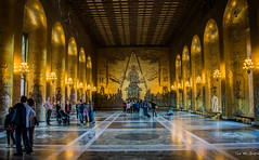 2016 - Baltic Cruise - Stockholm - City Hall Gold Room (Ted's photos - For Me & You) Tags: 2016 cropped stockholm sweden tedmcgrath tedsphotos vignetting goldenhall stockholmcityhall stockholmcityhallgoldhall people peopleandpaths hall mosaics stroller