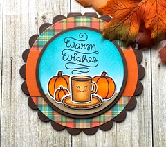 Fall Fun Day 2! (The Queen's Scene) Tags: card cardmaking stamping papercrafting fall fallfun pumpkins pumpkinspicelatte lawnfawn lawnscapingchallenge warmwishes coffee