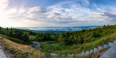 Cadillac Mountain Panorama (The Burgys) Tags: barharbor maine acadia acadianationalpark cadillacmountain panorama pano sunset sony sonya99 zeiss clouds islands porcupineislands barisland nationalpark trees stone stonewall steps stairs path flowers