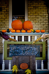 Porch Punkins (jah32) Tags: porch frontporch onthefrontporch house homesweethome pumpkins minipumpkins autumn fall fallcolours fallcolors orange nikon d750 halloween happyhalloween