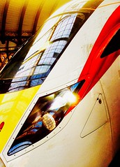 Turning Japanese (sjpowermac) Tags: azuma york railway japanese iep station class800 sunrise risingsun reflection roof light glass windscreen train nacelle lightnacelle headlights red demu new passengertrain yorkshire 800101 hitachi virgin