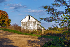 A Sunlit Barn In Fall (myoldpostcards) Tags: rural country farm buildings old weathered barn richland road rd sangamoncounty centralillinois illinois il unitedstates myoldpostcards vonliski season colorful fall autumn asunlitbarninfall