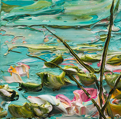 JUSTIN GAFFREY-WS12X12-2016-209 (Justin Gaffrey) Tags: waterscape water lillies waterlillies lilliepads reeds nature lake art artist painting acrylicpaint blue green justingaffrey 30a sowal florida