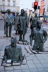 Wroclaw (Pologne).  Polish artist Jerzy Kalina. The public art installation called Przejcie, translated as Passage or Transition, installed in December 2005.-2 (beatrice.boutetdemvl) Tags: wroclaw pologne poland sculpture statue jerzy kalina rue street trottoir pavement