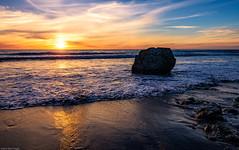 Sunset at San Simeon Beach (jthight) Tags: rock usa landscape sunset pacificocean water landform pacificcoasthighway on1pics rocks nikond810 california november beach ocean sansimeon afzoom2470mmf28g waves sun clouds sky seascape unitedstates coast lightroom pacific us