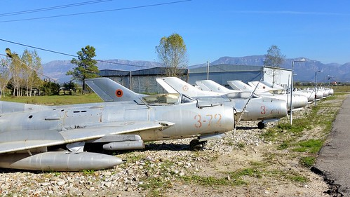 A row with retired Albanian Air Force jetfighters at Tirana Airport, Albania