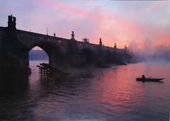 CZ-884763 Meky (Kille.wips) Tags: postcard fog prague czech republic bridge charles karlsbrcke moldau river twilight