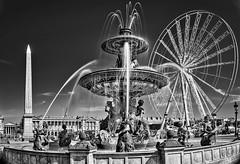 Place de la Concorde, Paris. (Daniel Schwabe) Tags: paris bw le fountain placedelaconcorde obelisk ferriswheel travel tourism water france