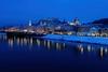 Salzburg Old Town (Matthias Harbers) Tags: city winter snow salzburg water night photoshop river lights austria evening sony cybershot elements labs dxo traveling altstadt oldtown hdr reise topaz 3xp photomatix rx100 salzachriver