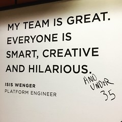 """""""And under 35"""" addressing #ageism added to Isis Wenger Onelogin ad inspiring #ILookLikeAnEngineer #tech #sexism #feminism #techboom #sanfrancisco #ad (Steve Rhodes) Tags: sanfrancisco tech ad feminism sexism ageism techboom ilooklikeanengineer"""