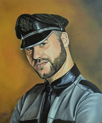Nick (alexpartalart) Tags: gay portrait male alex amsterdam leather shirt oil xxx oilpainting leathershirt muircap gayleather partal gayfetish fetishleather alexpartal