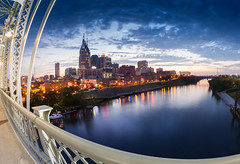 Nashville, TN at night (Rich Williams ) Tags: longexposure skyline night cityscape nashville tennessee fisheye canonef15mmf28fisheye